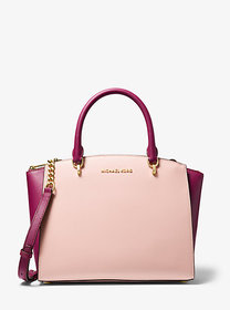 Michael Kors Ellis Large Two-Tone Leather Satchel