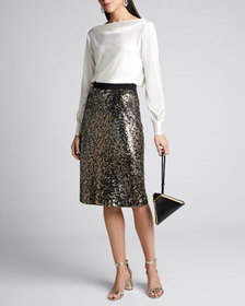 Milly Leopard Sequins Long Pencil Skirt