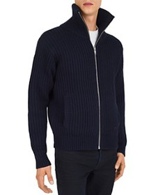 The Kooples - Leather-Trimmed Zip-Front Sweater