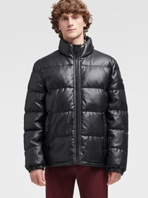 Donna Karan FAUX LEATHER QUILTED PUFFER