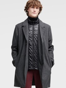 Donna Karan WOOL COAT WITH QUILTED BIB