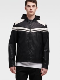 Donna Karan FAUX-LEATHER JACKET WITH RACING STRIPE