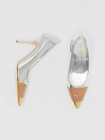 Burberry Tape Detail Mirrored Leather Pumps in Sil