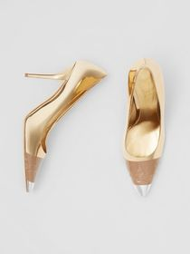 Burberry Tape Detail Mirrored Leather Pumps in Gol