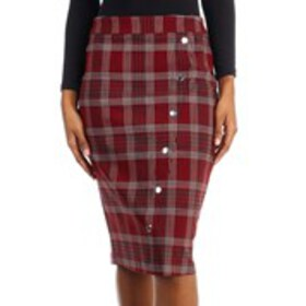 Asymmetrical Plaid Skirt with Metal Button Accents