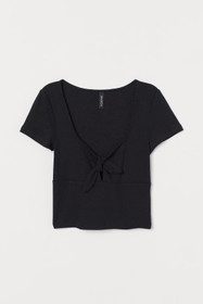 Ribbed Top with Tie Detail