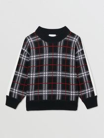 Burberry Check Merino Wool Jacquard Sweater in Bla