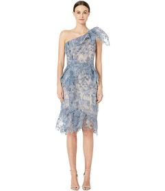 Marchesa One Shoulder Printed Lace Cocktail Dress