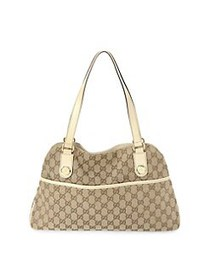 Gucci Vintage GG Charmy Canvas Tote BEIGE
