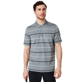 Oakley Piquet Striped Polo - Steel Gray