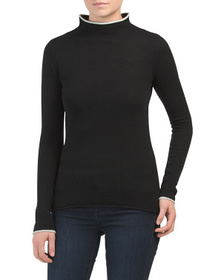 NICOLE MILLER Cashmere Rolled Mock Neck Sweater Wi