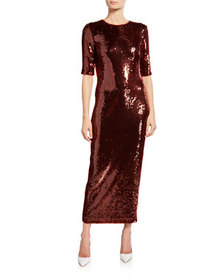 Sally LaPointe Sequined Fitted Tee Dress