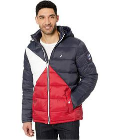 Nautica Hooded Logo Color Block Puffer
