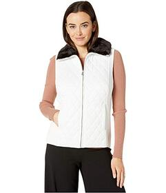 Jones New York Quilted Faux Fur Collar Vest