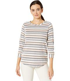 Jones New York Striped Boat Neck Top with 3\u002F4