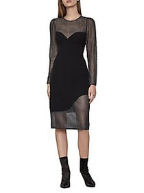 BCBGMAXAZRIA Illusion Metallic Lace Dress BLACK