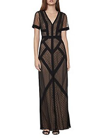 BCBGMAXAZRIA Tulle Dot Gown BLACK