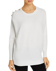 T Tahari - Ribbed Button-Detail Crewneck Sweater