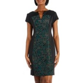 Petite Glitter Sheath Dress with Flocked Accents