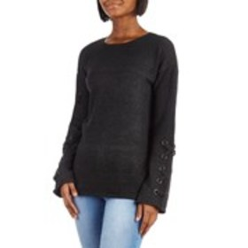Lace-Up Grommet Sleeve Pullover Sweater