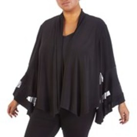 Plus Size Mesh Inset Bell Sleeve Open Front Cardig