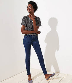 Tall Modern Button Cuff Skinny Jeans in Rich Mid I