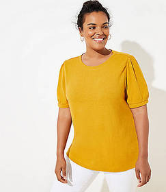 LOFT Plus Textured Puff Sleeve Tee