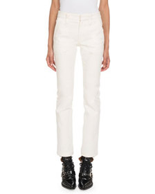 Chloe Mid-Rise Straight-Leg Cropped Denim Pants