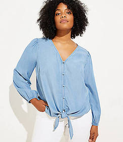 LOFT Plus Chambray Tie Hem Blouse