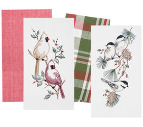 Christmas Birds Towels Set of 4 by Valerie - H3251