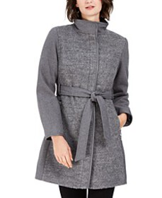 Twill Wool Faux-Leather Trim Coat, Created for Mac