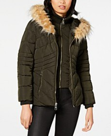 Faux-Fur-Trim Hooded Puffer Coat, Created For Macy