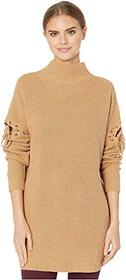 BCBGMAXAZRIA Turtleneck Sweater with Lace-Up Detai