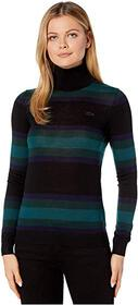 Lacoste Thick Striped Jersey Wool Turtleneck