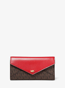 Michael Kors Large Logo and Leather Envelope Walle
