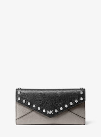 Michael Kors Large Studded Two-Tone Pebbled Leathe
