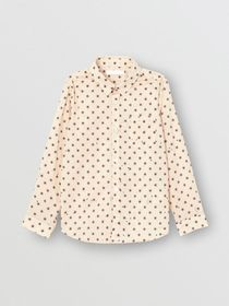 Burberry Star Print Cotton Shirt in Military Red