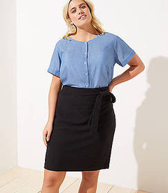 LOFT Plus Tie Waist Pull On Pencil Skirt