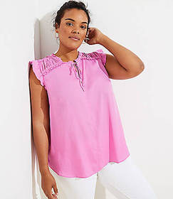 LOFT Plus Ruffle Tie Neck Shell