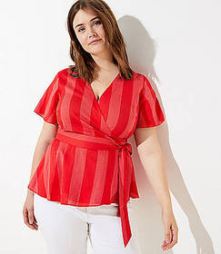LOFT Plus Striped Wrap Top