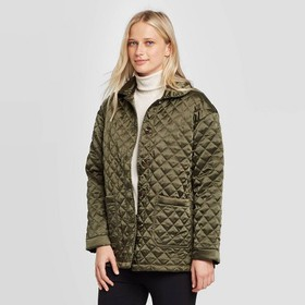 Women's Long Sleeve Quilted Satin Jacket - Who Wha