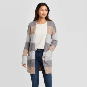 Women's Striped Long Sleeve With Pockets Cardigan