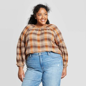 Women's Plus Size Plaid Long Sleeve Crewneck Popov