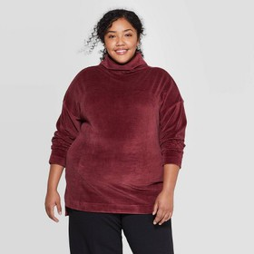 Women's Plus Size Long Sleeve Turtleneck Velour Ri