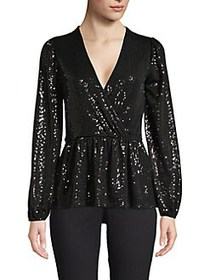 MICHAEL Michael Kors Mirror Dot Sequin Faux-Wrap T