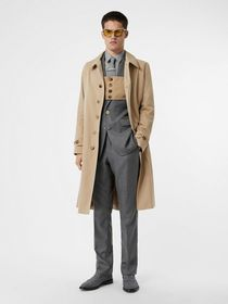 Burberry Linen Collar Button Panel Cotton Car Coat