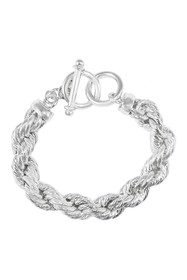 Savvy Cie 18K White Gold Plated Rope Chain Toggle