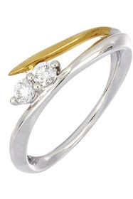 Bony Levy Two-Tone 18K Gold Wavy Double Diamond Ri