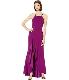 Bebe High Neck Ruffle Slit Gown