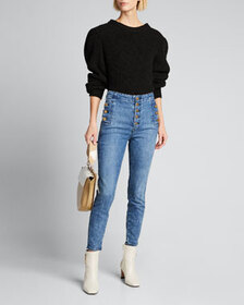 J Brand Natasha High Crop Skinny Jeans with Button